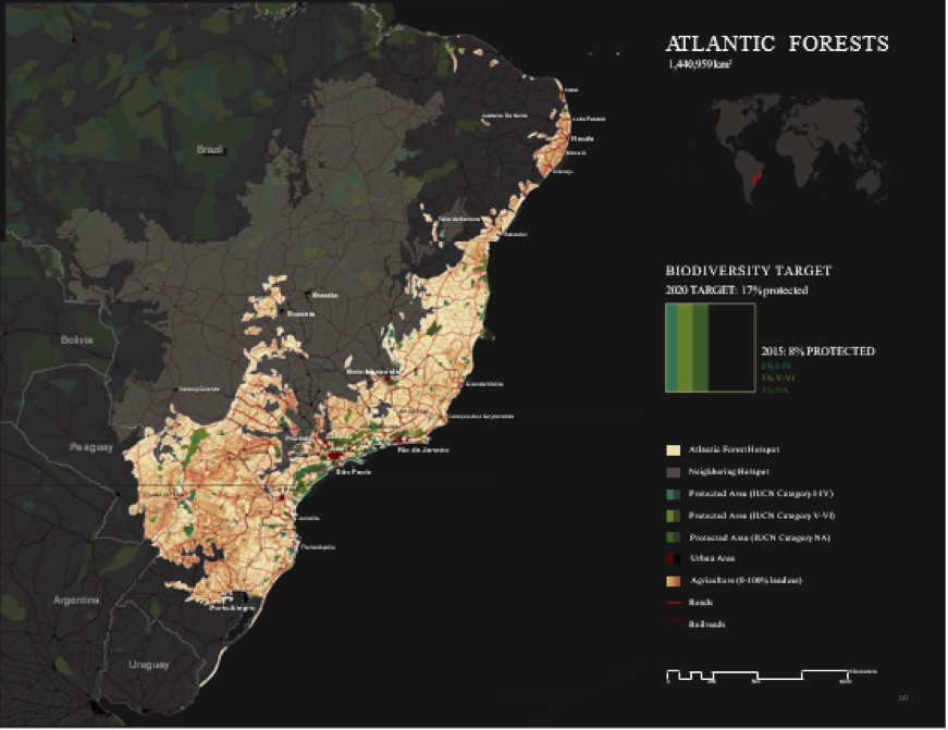 Figure 3. The Atlantic Forests map exemplifies hotspot mapping. The map shows the extent of the hotspot, neighboring hotspots, protected areas, urban and agricultural land uses, and roads and railroads.